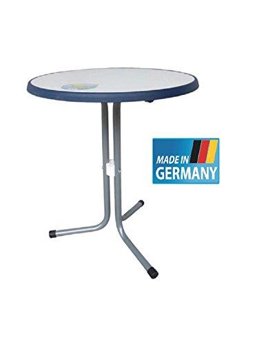 MFG Bistrotisch 60 cm Durchmesser rund MADE IN GERMANY Gestell in der Farbe graphit silberSevelit Platte in weiß mit dunkelblauem Rand TÜV geprüft 19