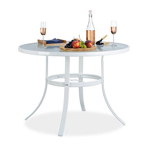 Relaxdays Gartentisch Glas rund STRUK mit Sonnenschirmloch 102 cm Bistrotisch Balkon Garten 4 Sitzer wetterfest weiß