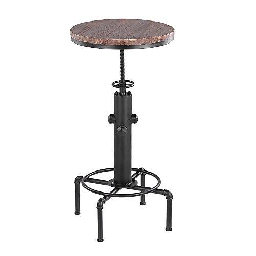 iKayaa Bartisch Stehtisch Bistrotisch Rund mit Kiefer Tischplatte und Metallrahmen Durchmesser 50cm Höhenverstellbar