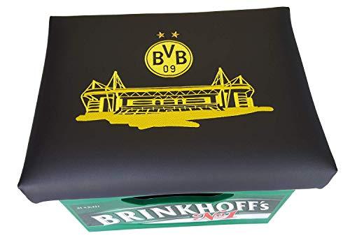 BVB Bierkastensitz Fanartikel Stadion oder Stammplatz Borussia Dortmund Bierkasten Sitz Sitzkissen schwarz gelb nur der bvb Bierkasten Aufsatz Bierkiste für Stehtisch Hocker Stadion