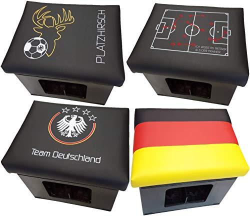 Design BierEx Bierkasten Sitz Platzhirsch Fußball Kissen Bierkastensitz für Bierkiste Hocker schwarz Aufsatz Bierkiste für Stehtisch Platzhirsch