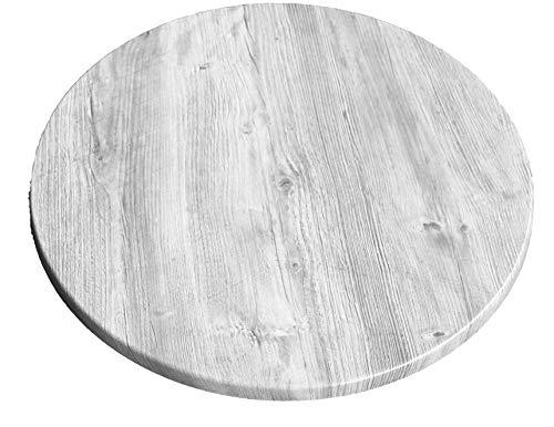 Werzalit Tischplatte Dekor Ponderosa weiß 70 cm rund Wetterfest Ersatztischplatte Bistrotisch Stehtisch Tisch Gastronomie