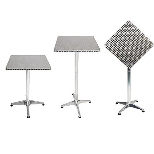 Mojawo Bistrostehtisch Terrassentisch Aluminium 60x60cm H70110cm Balkontisch Gartentisch Bistrotisch klappbar höhenverstellbar