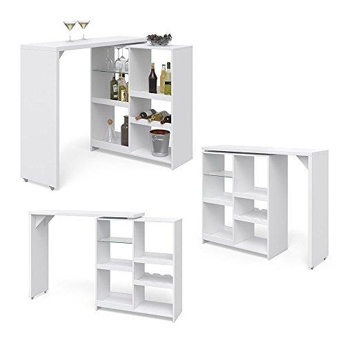 Vicco Bartisch Bar Vega Weiß Tresen Bartresen Stehtisch Tisch Tresentisch Bistrotisch Küche  FLEXIBEL STELLBAR  VIEL STAURAUM