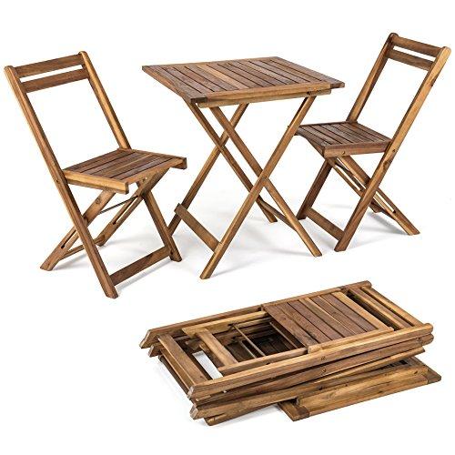 ESTEXO Balkonset 3tlg Klapptisch  2 Stühle aus Holz Gartenset Bistro Set Garnitur
