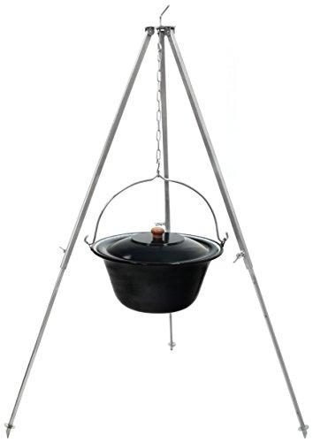 Original ungarischer Gulaschkessel 10 Liter  Dreibein-Gestell 130cm Teleskopgestell mit Gulasch-Topf Suppentopf Glühweintopf mit Deckel  Kesselgulasch Kochkessel im Set  Glühwein-Kessel