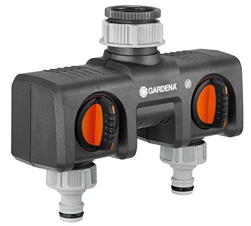 GARDENA 2-Wege-Verteiler Anschlussmöglichkeit für 2 Geräte an den Wasserhahn passend zu GARDENA Bewässerungscomputern -uhren Wasserdurchfluss regulier- und absperrbar 8193-20