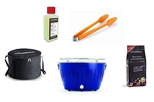 LotusGrill Starter-Set 1x Ultramarinblau Sonderfarbe Limited-Edition 1x Buchenholzkohle 1kg 1x Brennpaste 200ml 1x Grillzange Orange 1x Transport-Tasche - Der raucharme Holzkohlegrill