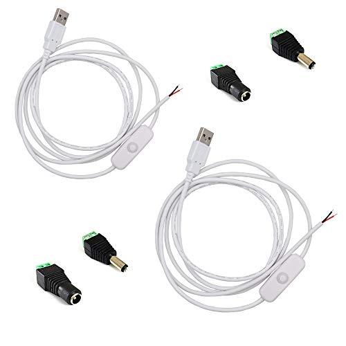 2pcs  paket weiß 15 Mt  492ft 5 V USB Schalter Taste Verlängerungskabel LED Streifen Licht Stecker mit Universal USB Adapter für DC 5 V 2Pin 5050  3528 LED Stripconnector für TV  PC  Laptop hintergrundbeleuchtung