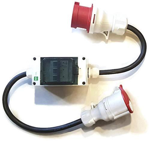 CEE Starkstrom Adapter Stecker und Steckdose 32A  16A 5x25mm 32A auf 16A Standard 231201S mit 3 Sicherungen je 16 A