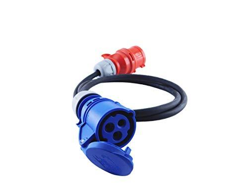 NWP Adapter CEE Kupplung 230V 16A auf CEE Stecker 400V 16A - 15m Anschlusskabel 3x25mm² Gummischlauchleitung - IP44 - Für Camping Caravan Boot Märkte