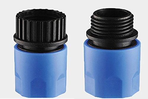 Topways blau Elastischer Gartenschlauch mit Stecker und Buchse Adapter Stecker für Wasserhahn und Spray