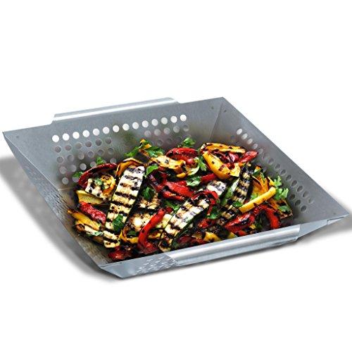Grill Republic Premium Gemüse-Grillkorb Große BBQ-Grillschale aus Edelstahl  Zubehör für Holzkohle- Elektro- und Gas-Grill sowie Backofen  Spülmaschinenfest  Maße 30 x 34 x 6 cm