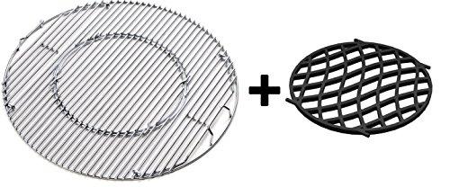 JX BBQ System - Edelstahl Grill für 57 cm Kessel Grill  Gusseisen Sear Grate für Gourmet-Grill-System