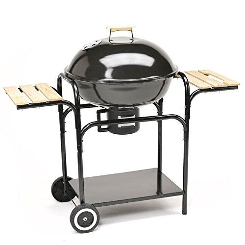 TAINO Kugelgrill 57 cm Durchmesser Holzkohle-Grill Smoker Standgrill mit Deckel - Große Grillfläche in Schwarz