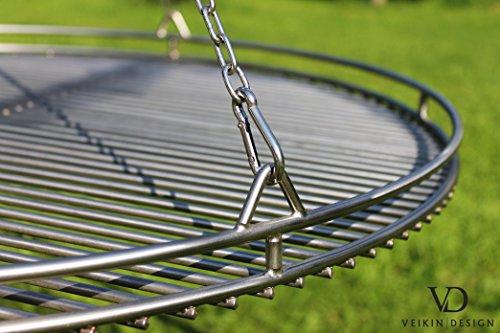 Edelstahl Grillrost Ø 80 cm mit Reling Kettensatz und Seilwirbel  VEIKIN DESIGN Grillrost Rund für Schwenkgrill Massive Ausführung Profi-Grillrost Handarbeit aus Deutschland