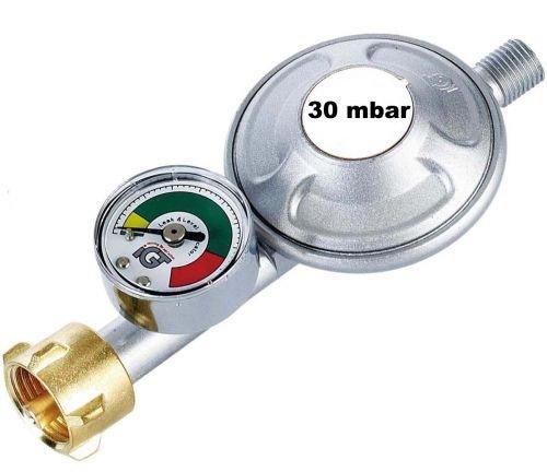 CAGO Gasregler 30 mbar Druckminderer Druckregler mit Manometer und Schlauchbruchsicherung Propan Butan
