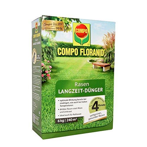 COMPO FLORANID Rasen Langzeit-Dünger 4 Monate Langzeitwirkung Feingranulat 6 kg 240 m²