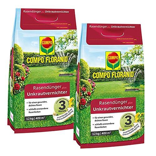 COMPO Floranid Rasendünger mit Unkrautvernichter 2 x 12 kg für 2 x 400 m²