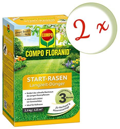 Oleanderhof Sparset 2 x COMPO Floranid Start-Rasen Langzeit-Dünger 25 kg  gratis Oleanderhof Flyer