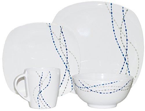 Line Weiß  Blau Eckig 16 tlg für 4 Personen Melamingeschirr Tafelgeschirr Geschirr-Set Camping Outdoor Garten Campinggeschirr Tafelservice Picknick