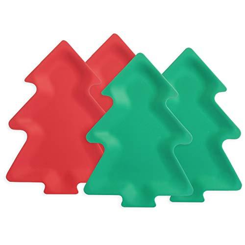 LEKOCH 4 Teilig Bambus Weihnachts Teller Set in Baum Form Servier Teller Gerschirr Weihnachts Tisch Deco Keks Teller 2 Grün 2 Rot