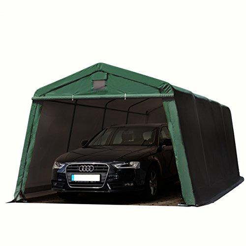 TOOLPORT Zeltgarage 33 x 62 m Weidezelt Premium Carport 500 gm2 PVC Plane Unterstand Lagerzelt Garage in dunkelgrün