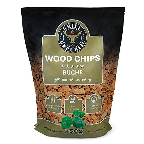 Premium Räucherchips Buche für optimales Raucharoma beim Grillen  100 Natürliches Smoker-Holz geeignet für Kugel- Stand- und Gas-Grill  Extra große 750 g Packung
