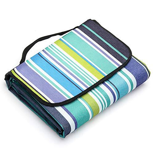 LIVEHITOP Picknick Decken 200x200 cm Wasserdicht Tragbar Faltbar Groß Picknickdecke Strandmatte für Familie Camping Strand BBQ Outdoor 7874''x7874'' Blau Streifen