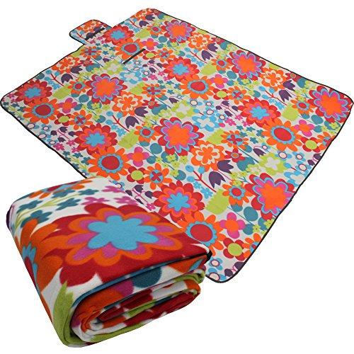 PROHEIM Picknickdecke XXL 200 x 200 cm mit Blumenmuster Fleece Picknick Decke mit wasserabweisender Unterseite aufrollbar Stranddecke mit Tragegriff