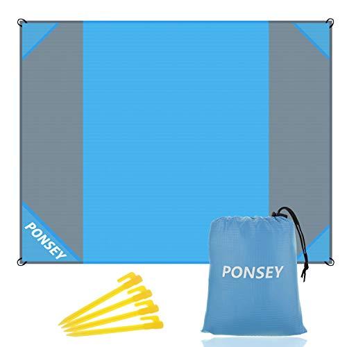 Picknickdecke 200 x 200 cm Stranddecke Wasserdichte sandabweisende Tragbare Camingmatte Matte mit 4 Pfosten