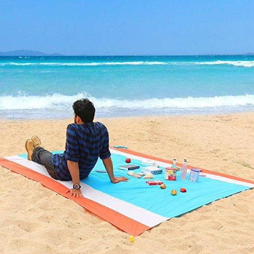 WolfWise 210 x 270 cm XXL Stranddecke Sandfreie Picknickdecke Campingdecke Strandtuch aus Weiches Nylon  mit Tasche und 4 Pfähle Wasserdicht Schnell trocknend Ultraleicht Tragbar