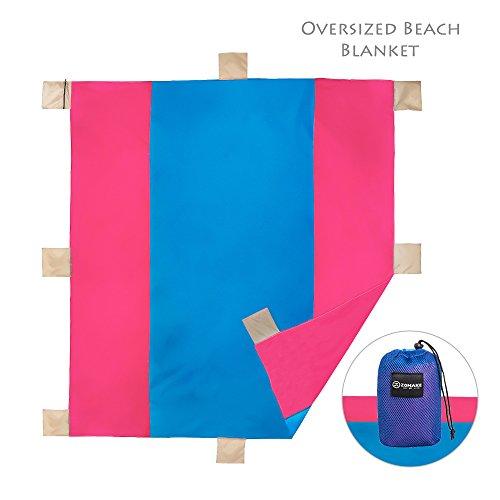 ZOMAKE Tasche Decken kompaktes PicknickStrand Decke - XL Extra Groß 300 x 300cm für 5-6 Personen BlauRosa
