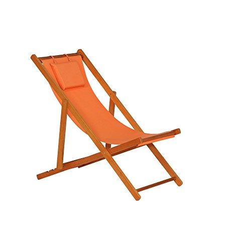 Siena Garden 672582 Liegestuhl Faro 110x58x90cm Gestell Hartholz in light teak Kissenbezug aus Polyester mit 230gm² in orange