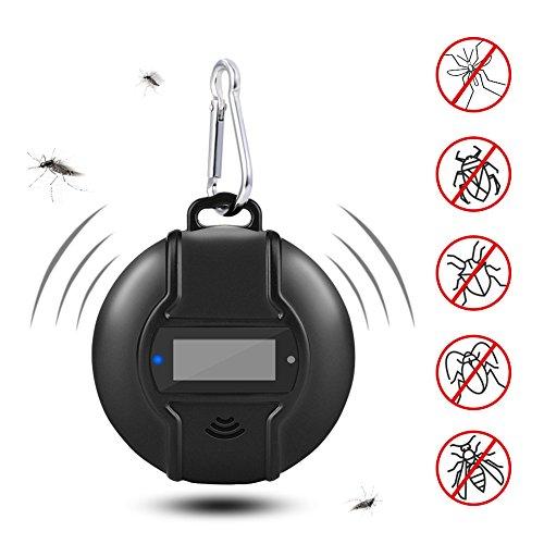 Yabtf Solar Mückenabwehr Ultraschall Schädlingsbekämpfer Insekten Moskito Kotrolle Gerät mit Kompass und USB Wiederaufladbar für Camping Outdoor