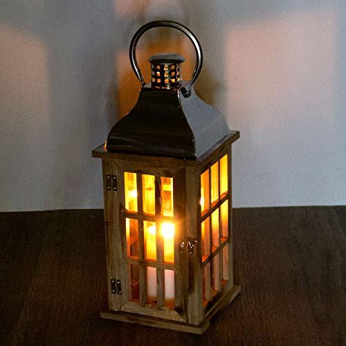 Multistore 2002 Holz Laterne mit Metalldach 40x17x17cm Gartenlaterne Holzlaterne Windlicht mit Henkel Holzgestell mit Glasfenstern Kerzenhalter Gartenbeleuchtung Dekoration