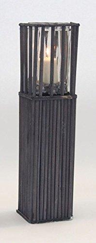Noor Holz Windlichtsäule Garten-Dekosäule Glas-Kerzenhalter dunkel grau Windlicht