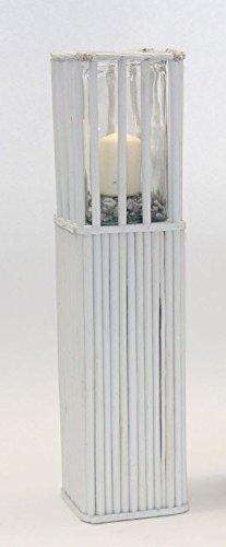 Noor Holz Windlichtsäule Garten-Dekosäule Glas-Kerzenhalter weiß Windlicht