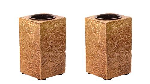 purpledip Holz T Licht Kerzenhalter mit Messing Tabelle Cover Set of 2 Golden indische Souvenir Geschenk 10997
