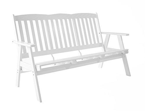 Ambientehome verstellbare Gartenbank 3-Sitzer Bank Massivholz Holzbank Relaxfunktion VARBERG Weiß