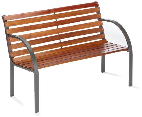 Stahl-Holz Bank Menorca 2-er 122 cm anthrazit Brema 053