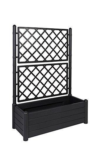 Kreher XL Rankgitter Spalier mit Pflanzkasten aus Robustem Kunststoff in AnthrazitGrau Maße BxTxH in cm 100 x 43 x 142 cm Topp für Garten Terrasse und Balkon