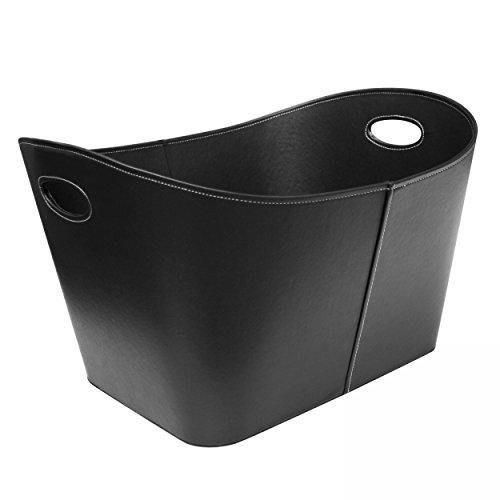 Schindler  Hofmann SH100514 Holzkorb Lederoptik in schwarz XL
