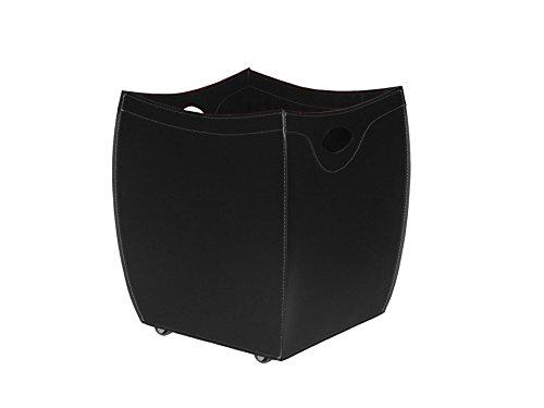 BOTTE Kaminholzkorb aus Leder farbe Schwarz Holzkorb Feuerholzkorb Brennholzkorb Exlusivdesign aus Italien Limac Design