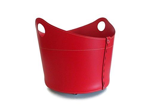 CADIN Kaminholzkorb aus Leder Farbe Rot Holzkorb Feuerholzkorb Brennholzkorb Exlusivdesign Firestyle Made in Italy