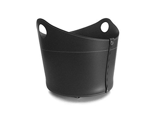 CADIN MINI Kaminholzkorb aus Leder Farbe Schwarz Holzkorb Feuerholzkorb Brennholzkorb Exlusivdesign design Firestyle Made in Italy