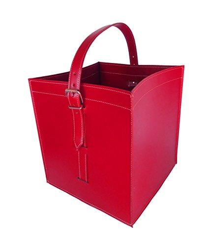 LUNA Exlusivdesign aus Italien Kaminholzkorb Holzkorb Feuerholzkorb Brennholzkorb aus Leder Farbe Rot