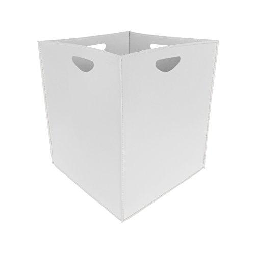 MARTE Kaminholzkorb aus Leder Farbe weiß Holzkorb Feuerholzkorb Brennholzkorb Exlusivdesign aus Italien