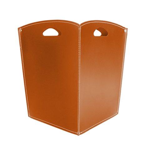 VENUS Kaminholzkorb aus Leder Farbe Braun Holzkorb Feuerholzkorb Brennholzkorb Exlusivdesign aus Italien