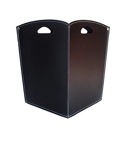 VENUS Kaminholzkorb aus Leder Farbe Schwarz Holzkorb Feuerholzkorb Brennholzkorb Exlusivdesign aus Italien